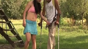 Handicapped Man Acquires Lucky Outdoors With Slutty Brunette Chick-1