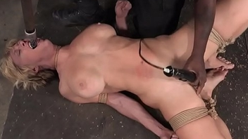 Restrained sub gagged unconnected with maledom