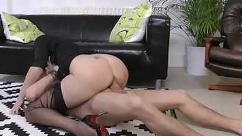 Heeled brit milf doggystyled after blowjob