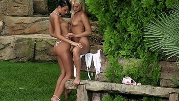 Very beautiful lesbians Jenny and Debby play with each interexchange outdoors by Sapphic