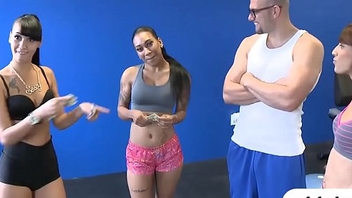 Skinny babe convinced to get fucked in the gym for cash