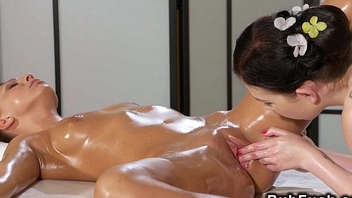 Lesbos finger fucking after massage