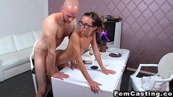 Slim oiled feminine agent banged from behind