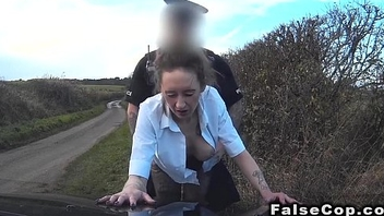 Busty fair-haired recognized fake cop and fucked him