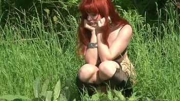 Gothic Halloween redhead hairy teen bitch posing outdoors showing cunt