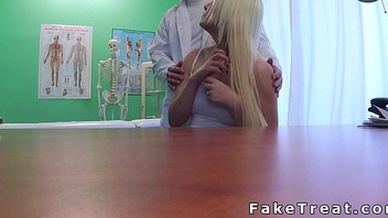 Doctor touches blonde before fucks her nearby fake polyclinic